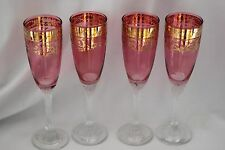 CRANBERRY GLASS TEARDROP CHAMPAGNE FLUTES GOLD OVERLAY CLEAR SWIRL STEM SET/ 4