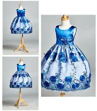 Flower Girl Bridesmaids Floral Royal Blue Embroidery Toddler Girl Dress #09