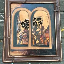 Tree Focused Urban Asian Landscape Wood with Cut-outs Framed Roots Signed