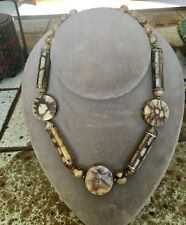 Miriam Haskell  Brown Stone Necklace,  Signed.   Vintage 15""