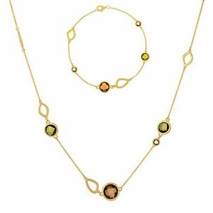Silverly Gold Plated .925 Sterling Silver Green Gemstone Necklace Bracelet