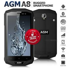"Unlocked AGM A8 Black 5"" Dual SIM Quad Core IP68 Waterproof 4G Rugged Smartphone"