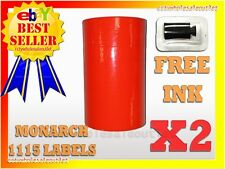 2 Sleeves Fluorescent Red Label For Monarch 1115 Pricing Gun 2 Sleeves=20Rolls