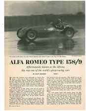 1965 ALFA ROMEO TYPE 158/9  ~  VINTAGE 9-PAGE ORIGINAL ARTICLE / AD