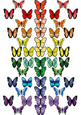 48 X PRE-CUT RAINBOW MIX BUTTERFLY EDIBLE WAFER PAPER CUP CAKE TOPPER DECORATION