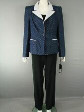 SUPERB MARIA COCA COLLECTION NAVY & WHITE JACKET, TOP & TROUSER SUIT SIZE 12