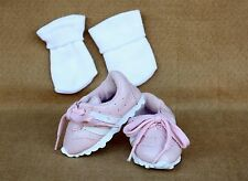 Doll Shoes fitting 18 inch American Girl Dolls Pink & White Vinyl Shoes & Socks