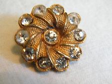 Beautiful Brooch Pin Gold Tone Textured Clear Rhinestones 1 Inch NICE