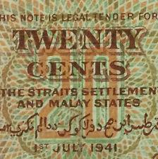 1941 Malaya KGVl 20 cents banknote very nice