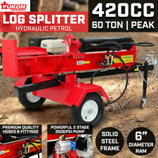 Yukon 60 Ton Log Splitter Axe Wood Cutter Petrol Engine Hydraulic Firewood