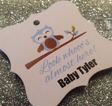 24 Blue Baby Boy Owl Personalized With Name Baby Shower Favor Tag - Look Whooo's