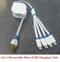 4 in 1 Retractable Micro USB Charger Cable For Samsung HTC LG Android Phone Tab