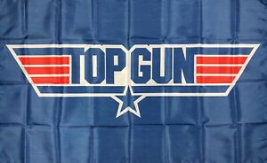 Top Gun Classic Logo Flag 3x5 ft 1980's US Airforce Blue Banner Man-Cave Garage