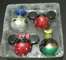 Disney Parks Glass Christmas Ornament Set Mickey Minnie Donald Goofy Holiday