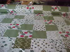 DOUBLE (FULL)  SIZE FLOWER BOX GREEN  CHEATER QUILT TOP PANEL 90X72