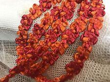 "VINTAGE FRENCH ROCOCO Satin Florettes TRIM RIBBON 1yd 3/8"" Orange Pomegranate"