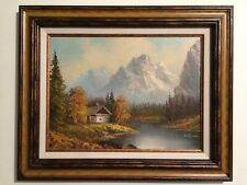"Vintage Signed Oil Painting Big Heavy Frame Made In Mexico ""Mountain Landscape"""