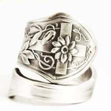 925 Silver Boho Hamdmade Rings Vintage White Sapphire Jewelry Women Ring Sz 10
