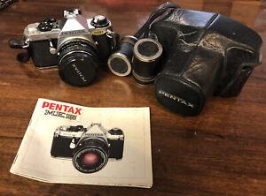 PENTAX ME Super 35mm Film Camera Pentax-M 50mm f/1:2 Lens + Manual + Strap/Case