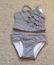Baby Girls M&S UPF 50 + Striped 2 Piece Tankini Swimsuit 6-9Mths BNWT