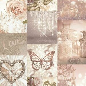 Love Paris Wallpaper Blush Pink Arthouse Glitter Sparkle Butterfly Flower 691107