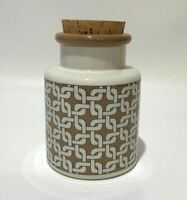 """Vintage Ceramic Canister with cork Top Brown White Made in Japan 6"""""""