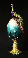 """St Petersburg Russian Faberge Collection: Peacock Trinket Box 3.5"""""""