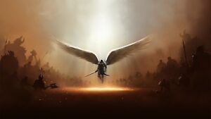 Angel Wings - Fantasy Warrior Army Sword Large Canvas Picture Print 20x30Inch