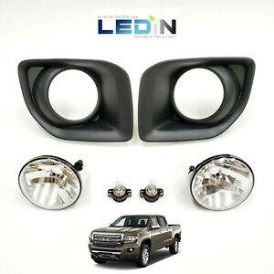 Clear Lens Driving Fog Lights Kit For 2015-2019 GMC Canyon w/Bezel Bulbs Replace