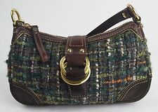 Coach Chelsea Boucle Tweed Small Brown Suede Leather Purse Demi Bag YKK VGC