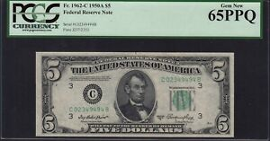 Fr. 1962 1950A $5 Philadelphia Federal Reserve Note PCGS Currency Gem New 65 PPQ