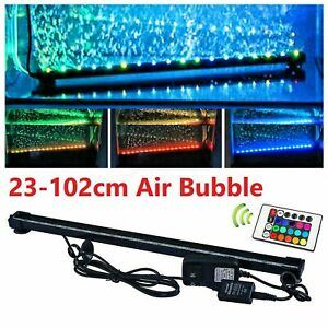 RGB LED Submersible Air Stone Curtain Bar Bubble Aquarium Fish Tank Light IP68