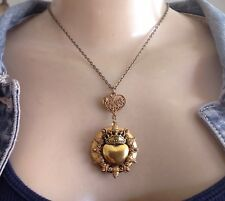 Sacred Heart Vintage Necklace Large Art Nouveau Revival Brass Locket Pendant