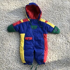 Vintage Brambilla Baby Toddler Down Snowsuit Size 1 Primary Colors Hood Mittens