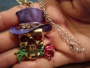 Skull Flower Silver Necklace Pendant Jewelry purple