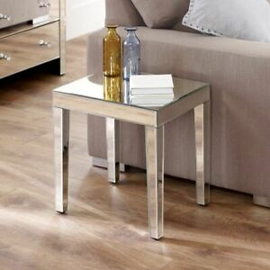 Venetian Mirrored Medium Side Table - Glass Lamp Living Coffee Occasional VEN99