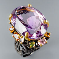 Unique Design Natural Ametrine 925 Sterling Silver Ring Size 7.5/R116785