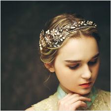 Baroque Gold Leaf Headband Wedding Bridal Rhinestone Crown Tiara Pearl Headpiece