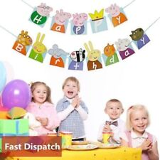 Kids Peppa Pig Bunting Happy Birthday Banner Child Party Decor Hanging Flags UK