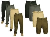 Mens Big Size 2 In 1 Trousers To Shorts Casual Cargo Combat Pants Work Walking