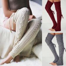 Women Winter Warm Knit Over Knee Long Boot Thigh-High Leg Warmers Socks Leggings