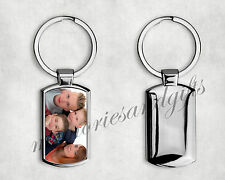 Personalised Metal Keyring Key Ring Print Your Photo Image With FREE GIFT BOX
