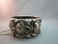 VTG Wide Silver Plated Bangle Bracelet Hinged Repousse Unmarked Safety Chain