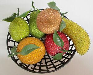 Lot of 6 VINTAGE MCM Handmade Sequin PUSH PIN Fruits Lime Orange Banana Apple +