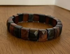 Genuine Blue and Red Tiger's Eye Square Bead Bracelet for Men
