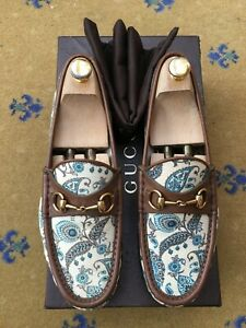 Gucci Mens Shoes Paisley Canvas Leather Horsebit Loafers UK 8.5 US 9.5 42.5 1953