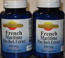 French Maritime Pine Bark Extract 300mg 360 capsules 90% Polyphenols Exp: 2022
