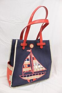 $125 SPARTINA 449 TOTE Blue Linen Sailboat Boat Tote Bag Daufuskie Island Canvas