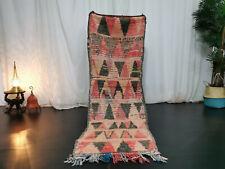 Moroccan Handmade Vintage Runner Rug 2x6'6 Berber Geometric Faded Red Black Rug