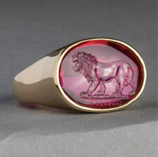 for Men Garnet Jewelry Rings Size 9 Fashion Gift 18k Gold Plated Lion Rings